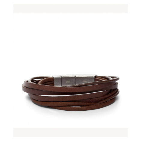 Fossil Men's Multi-Wrap Bracelet Brown - Brown Silver