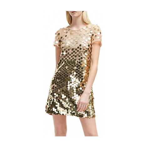 French Connection Bashu Sparkle Tunic Dress, Gold