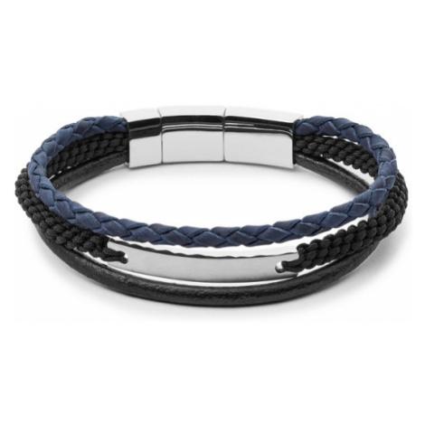 Fossil Men Vintage Casual Multi-Strand Bracelet Black/Blue - One size