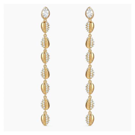 Shell Cowrie Pierced Earrings, White, Gold-tone plated Swarovski