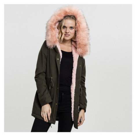 Urban Classics Ladies Peached Teddy Lined Parka darkolive