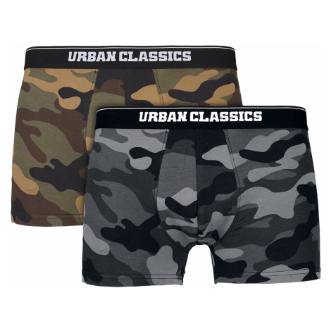 Urban Classics - 2-Pack Camo Boxer Shorts - Boxers - wood camo/dark camo