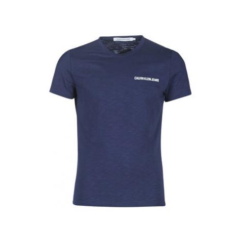 Calvin Klein Jeans CHEST INSTIT SLUB SLIM SS men's T shirt in Blue