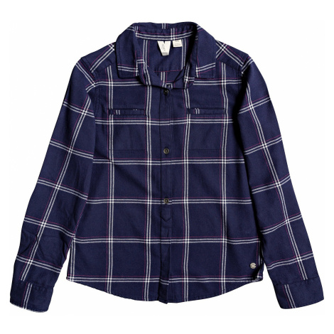 shirt Roxy Campay RG LS - XBWM/Mood Indigo Basic Plaid Youth - girl´s