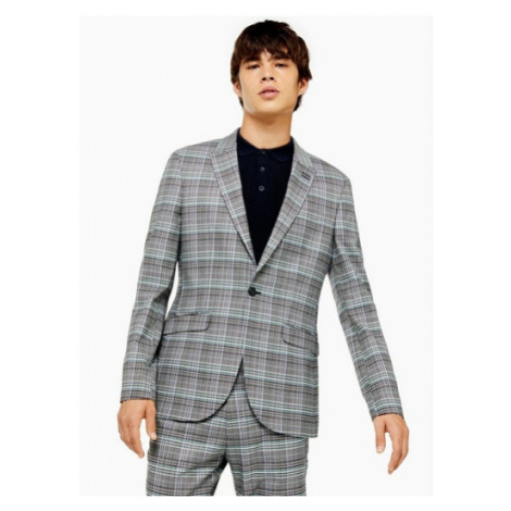 Mens Grey And Purple Check Skinny Fit Single Breasted Suit Blazer With Peak Lapels, Grey Topman
