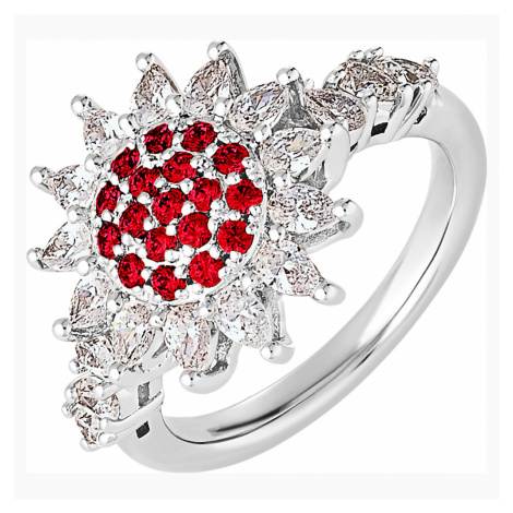 Botanical Ring, Red, Rhodium plated Swarovski