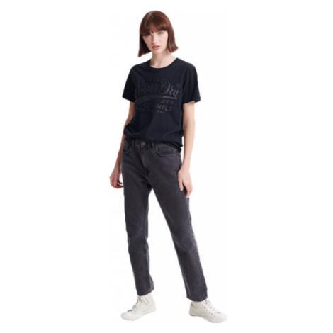 Superdry RO GLITTER EMBOSS ENTRY TEE black - Women's T-shirt