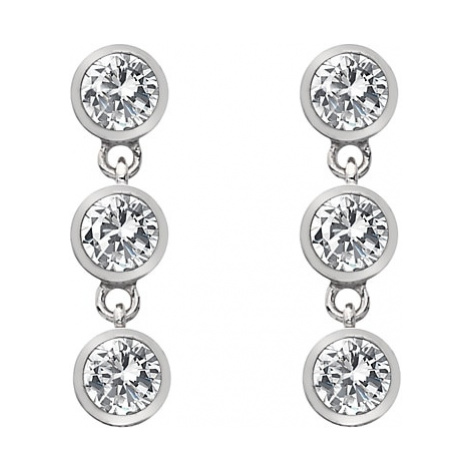 Hot Diamonds White Topaz and Diamond Triple Drop Earrings, Silver