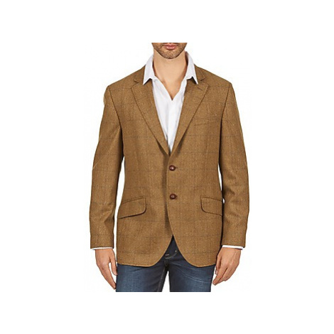 Hackett TWEED WPANE men's Jacket in Brown