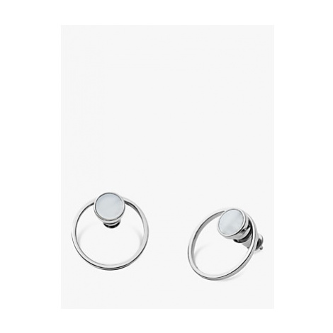 Skagen Agnethe Cut Out Mother of Pearl Round Stud Earrings, Silver/White SKJ1096040