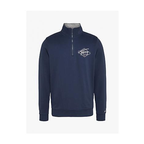 Tommy Jeans Half-Zip Mock Neck Organic Cotton Jersey Pullover, Twilight Navy Tommy Hilfiger