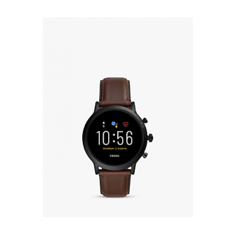 Fossil FTW4026 Men's Leather Strap Touch Screen Smartwatch, Brown/Black