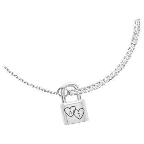 P D PAOLA Silver Heart Initials Bond Bracelet
