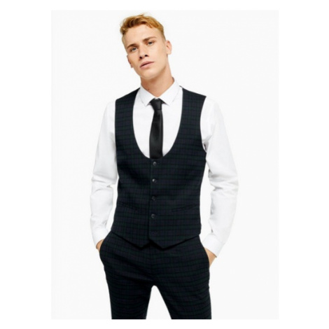 Mens Navy And Green Check Super Skinny Fit Suit Waistcoat, Green Topman