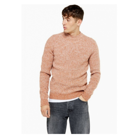 Mens Brown Rust Textured Twisted Turtle Neck Jumper, Brown Topman