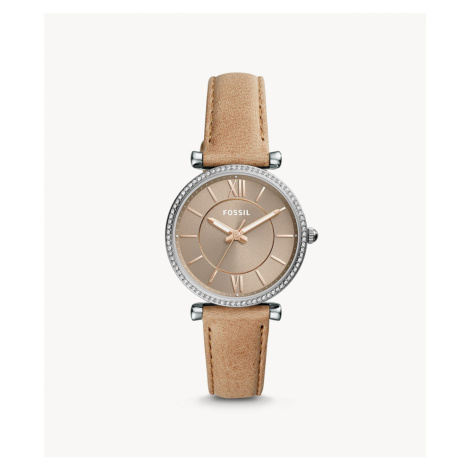Fossil Women's Carlie Three-Hand Sand Leather Watch