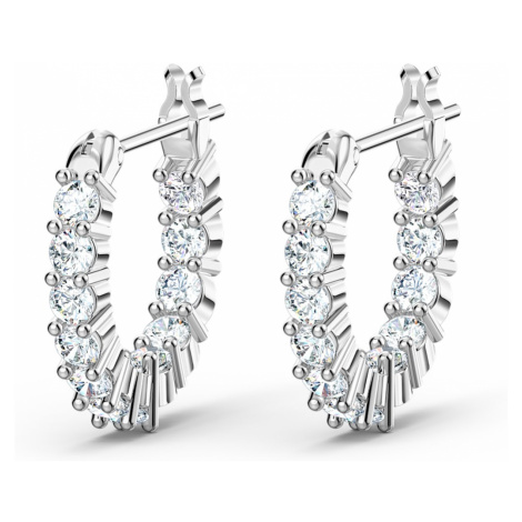 Vittore Mini Hoop Pierced Earrings, White, Rhodium plated Swarovski