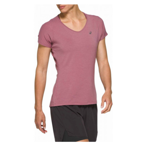 Asics V-NECK SS TOP pink - Women's running T-shirt