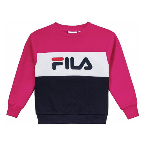 sweatshirt Fila Night Blocked Crew - Pink Yarrow/Black Iris/Bright White - unisex junior
