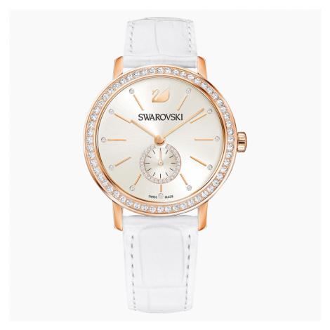 Graceful Lady Watch, Leather strap, White, Rose-gold tone PVD Swarovski