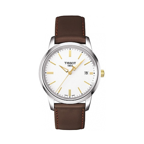 Tissot T0334102601101 Men's Classic Dream Date Leather Strap Watch, Brown/White