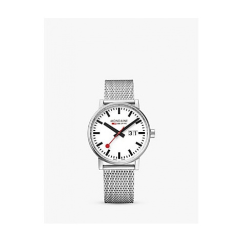 Mondaine MSE.40210.SM Unisex Evo 2 Date Mesh Bracelet Strap Watch, Silver/White