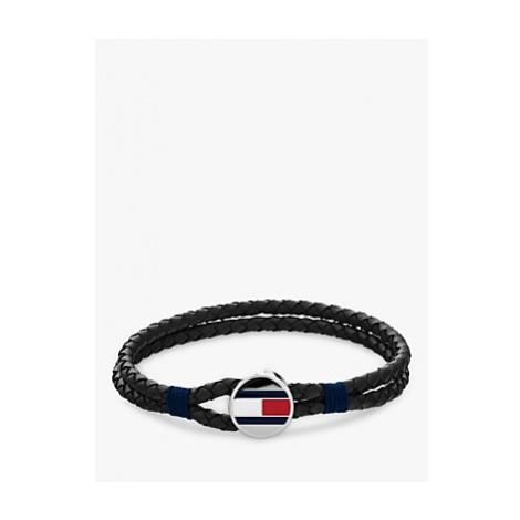 Tommy Hilfiger Men's Round Charm Leather Bracelet, Black