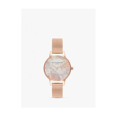 Olivia Burton OB16VM11 Women's Marble Florals Mesh Bracelet Strap Watch, Rose Gold/Multi