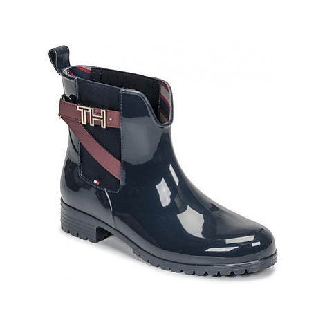 Tommy Hilfiger TH HARWARE RUBBER BOOTIE women's Wellington Boots in Blue