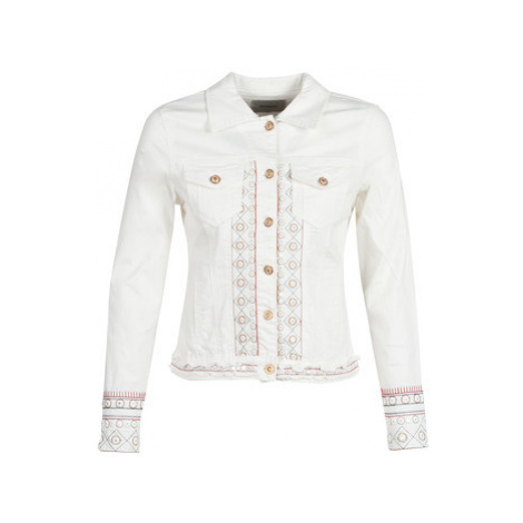 Desigual PINK BOHO women's Denim jacket in White