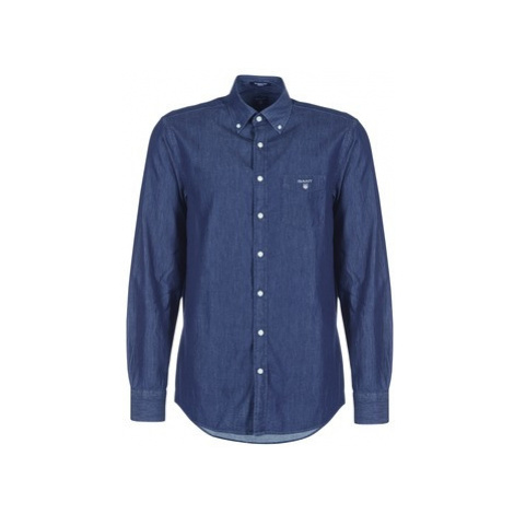 Gant THE INDIGO REG BD men's Long sleeved Shirt in Blue