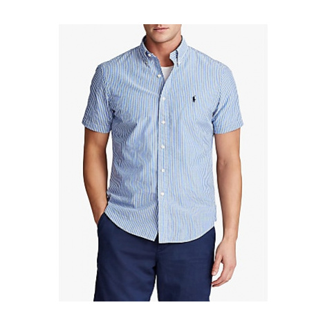 Polo Ralph Lauren Custom Slim Fit Striped Seersucker Shirt, Light Blue/white