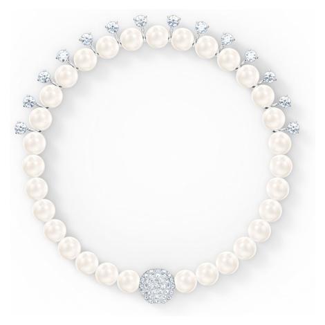 Treasure Pearl Bracelet, White, Rhodium plated Swarovski