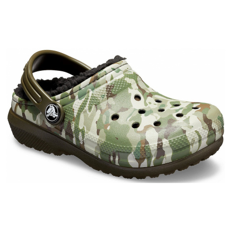 shoes Crocs Classic Fuzz Lined Graphic Clog - Dark Camo Green/Black - unisex junior