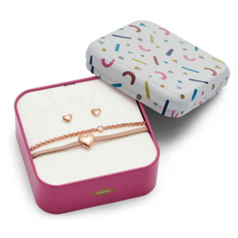 Fossil Women Heart Rose-Gold-Tone Stainless Steel Studs And Bracelet Box Set - One size