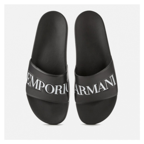 Emporio Armani Men's Slide Sandals - Black/White - UK