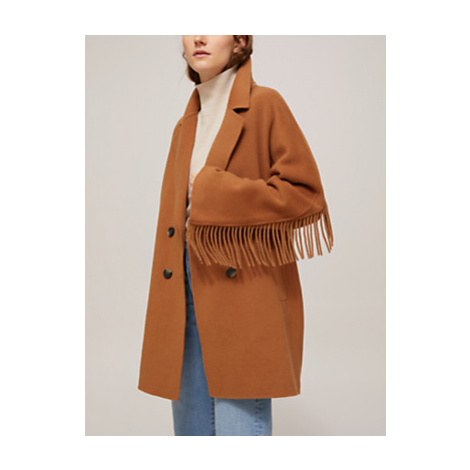 Marella Double Breasted Fringe Coat, Burnt Brown
