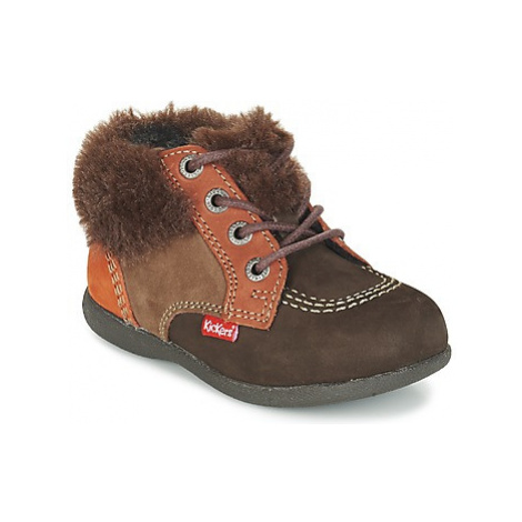 Kickers BABYFROST girls's Children's Mid Boots in Brown