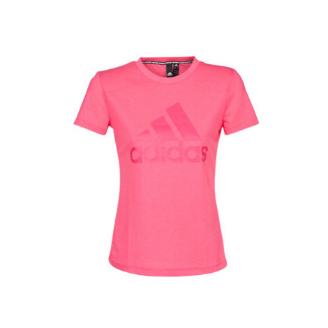 Adidas W MH BOS TEE women's T shirt in Red