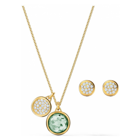 Tahlia Set, Green, Gold-tone plated Swarovski