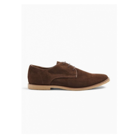 Mens Brown Faux Suede Spark Desert Shoes, Brown Topman