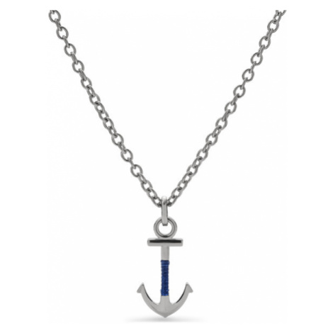 Fossil Men Anchor Steel Necklace Silver/Blue - One size