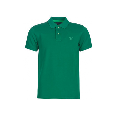 Gant CONTRAST COLLAR PIQUE men's Polo shirt in Green