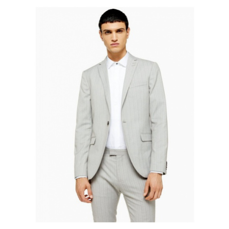 Mens Grey Pinstripe Super Skinny Fit Single Breasted Suit Blazer With Notch Lapels, Grey