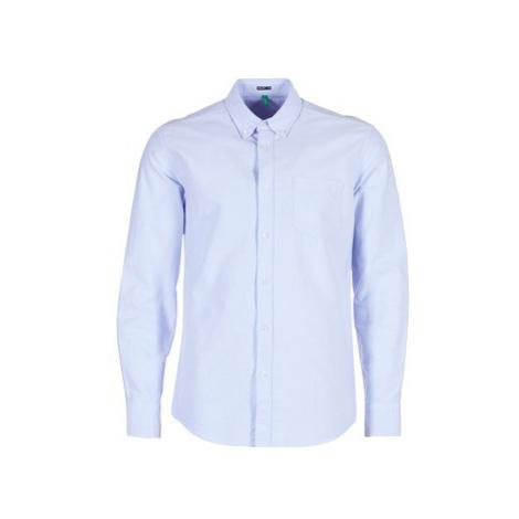 Benetton SOCRE men's Long sleeved Shirt in Blue United Colors of Benetton