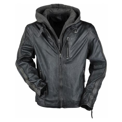Gipsy Steep Slim Fit Lasanv Leather Jacket anthracite olive