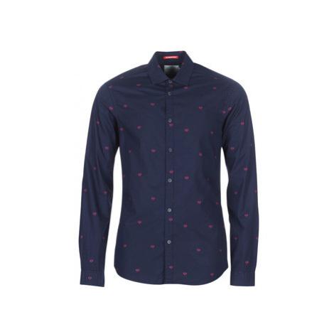 Scotch Soda SLIM FIT CRISPY L/S SHIRT WITH PRINTS men's Long sleeved Shirt in Blue Scotch & Soda