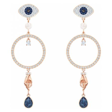 Swarovski Symbolic Hoop Pierced Earrings, Multi-coloured, Rose-gold tone plated