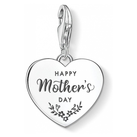 THOMAS SABO Charm Club Silver Happy Mother's Day Heart Charm