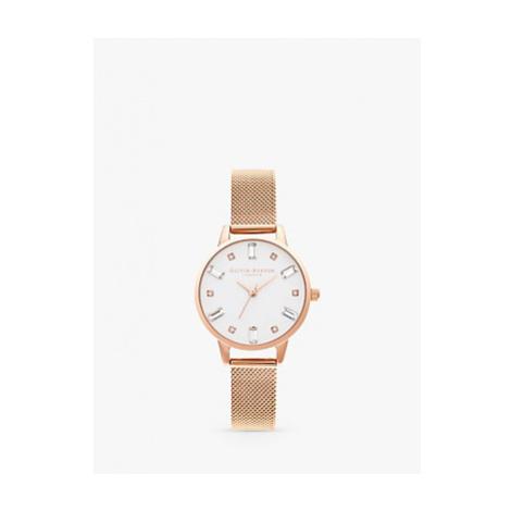 Olivia Burton OB16BJ02 Women's Bejewelled Mesh Bracelet Strap Watch, Rose Gold/White